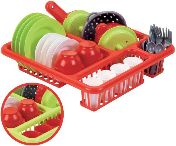 34-teiliges Geschirrset mit Abtropfgitter [Kinderspielzeug]