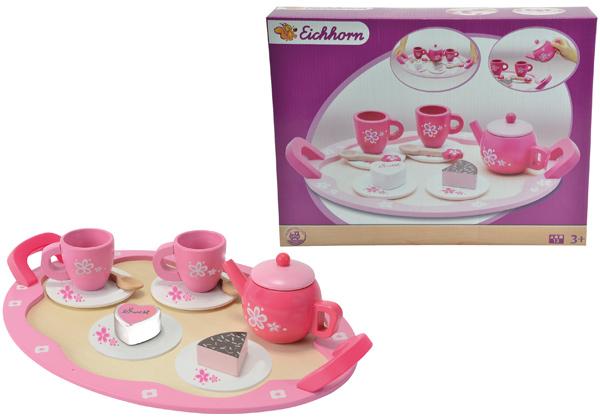 Eichhorn Teeset mit Tablett aus Holz Rosa-Pink Kinderspielzeug