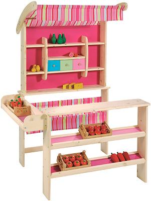 howa kaufmannsladen mit markise pink kinderspielzeug von howa ean 4027914047460. Black Bedroom Furniture Sets. Home Design Ideas