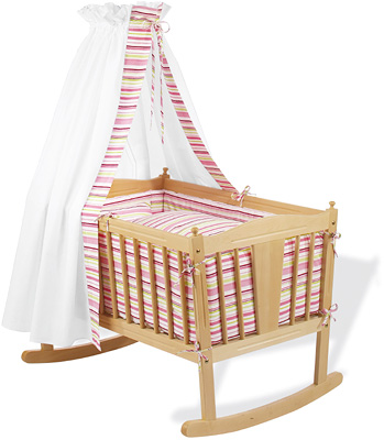 Pinolino Wiegenset Streifen (Rosa-Grn) [Babyausstattung &gt; Textile Wiegenausstattungen]