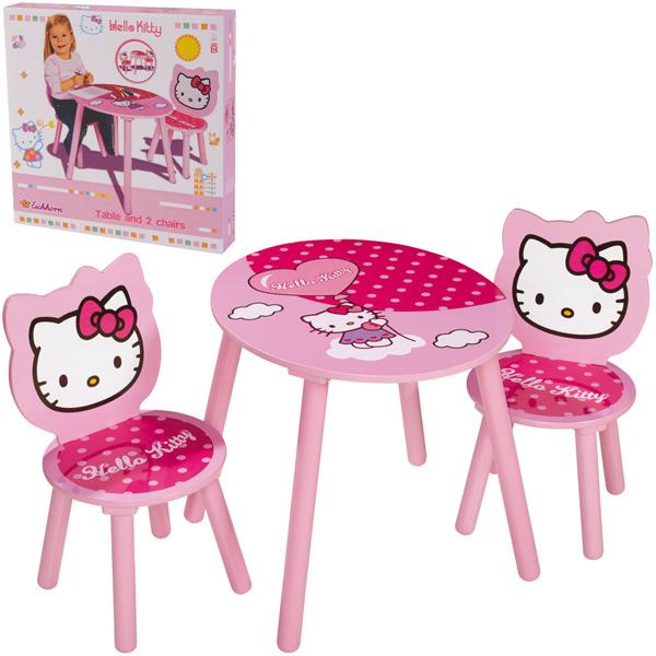 simba hello kitty kindertisch mit zwei st hlen aus holz. Black Bedroom Furniture Sets. Home Design Ideas