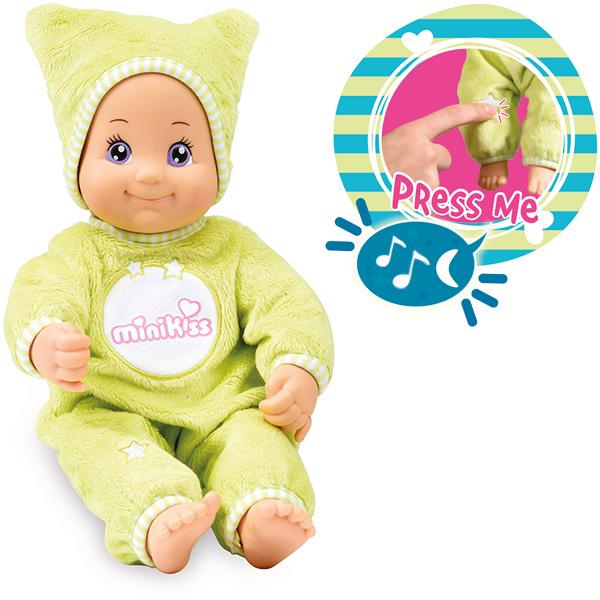 Minikiss Gute Nacht Puppe mit Licht und Musik (Grün) [Kinderspielzeug]