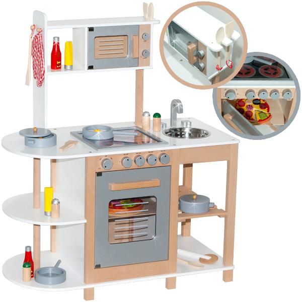 Kinderküche aus Holz (Weiß-Silber) [Kinderspielzeug]
