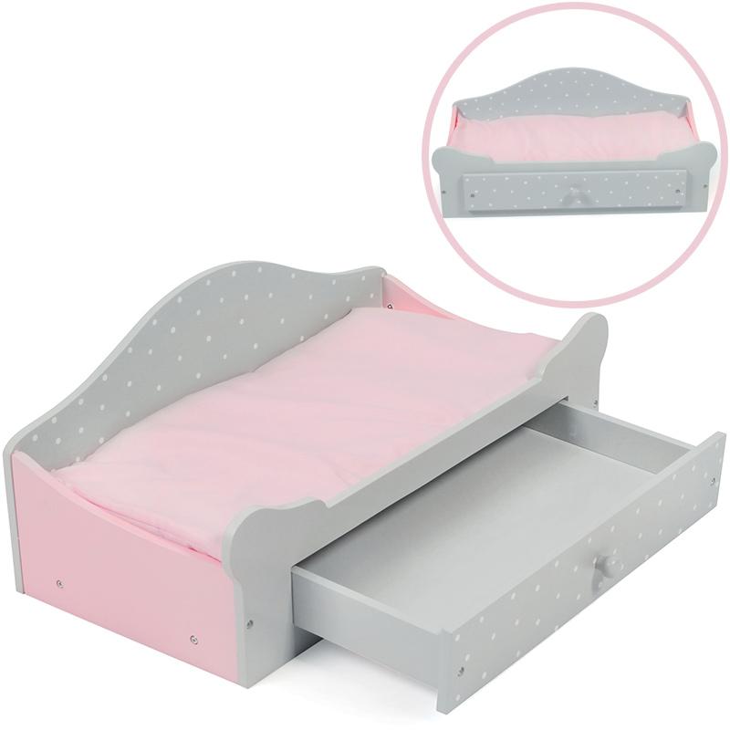 bayer-chic-2000-puppenbett-mit-bettkasten-puntos-grey-rosa-grau-kinderspielzeug-