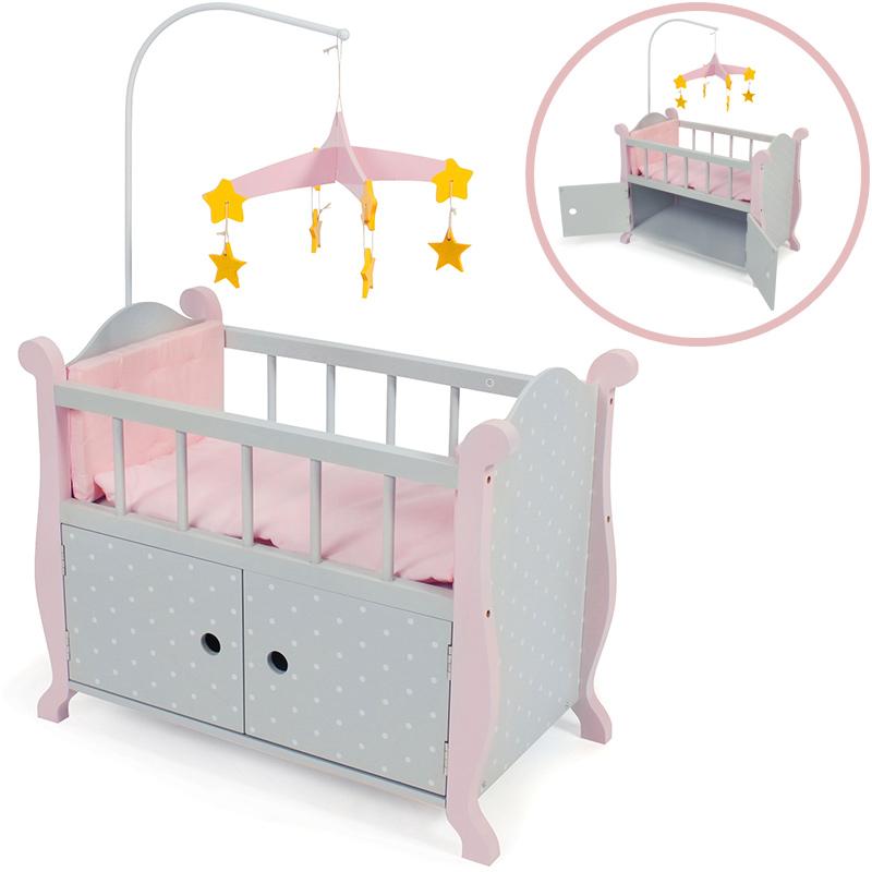 bayer chic 2000 puppenbett mit mobile puntos grey rosa grau bett mit schrank neu ebay. Black Bedroom Furniture Sets. Home Design Ideas