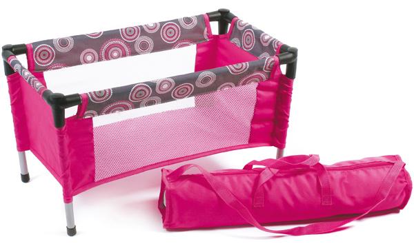 bayer-chic-2000-puppenreisebett-mit-tasche-hot-pink-pearls-kinderspielzeug-