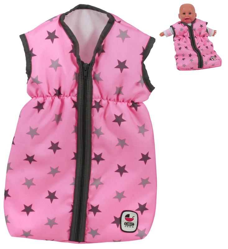 bayer-chic-2000-puppenschlafsack-sternchen-grau-rosa-kinderspielzeug-