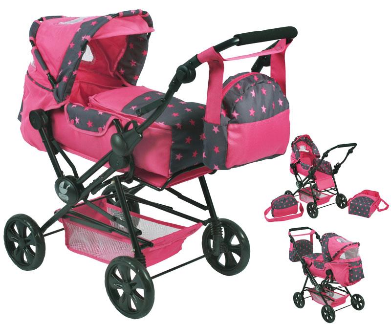 bayer-chic-2000-puppenwagen-road-star-sternchen-pink-kinderspielzeug-