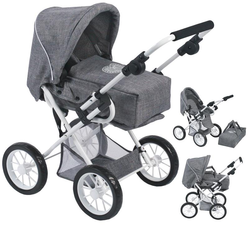 bayer-chic-2000-puppenwagen-leni-jeans-grau-kinderspielzeug-