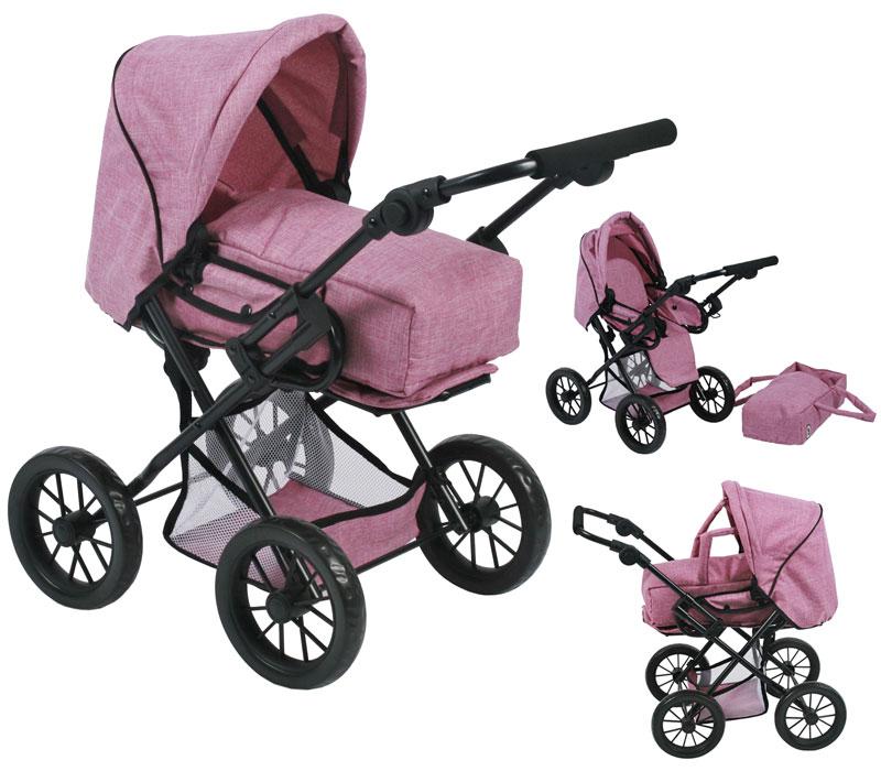 bayer-chic-2000-puppenwagen-leni-jeans-pink-kinderspielzeug-