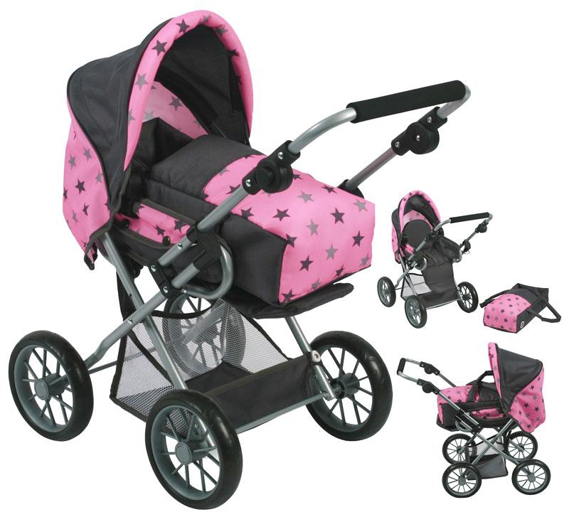 bayer-chic-2000-puppenwagen-leni-sternchen-grau-rosa-kinderspielzeug-