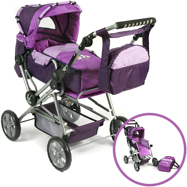 bayer-chic-2000-puppenwagen-road-star-purple-checker-kinderspielzeug-