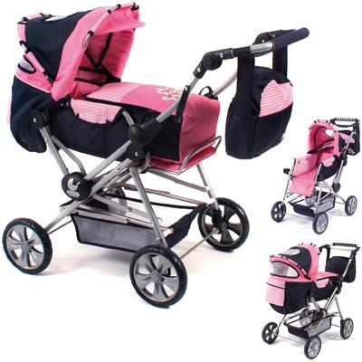 bayer-chic-2000-puppenwagen-road-star-pink-checker-kinderspielzeug-