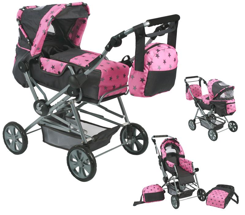 bayer-chic-2000-puppenwagen-road-star-sternchen-grau-rosa-kinderspielzeug-