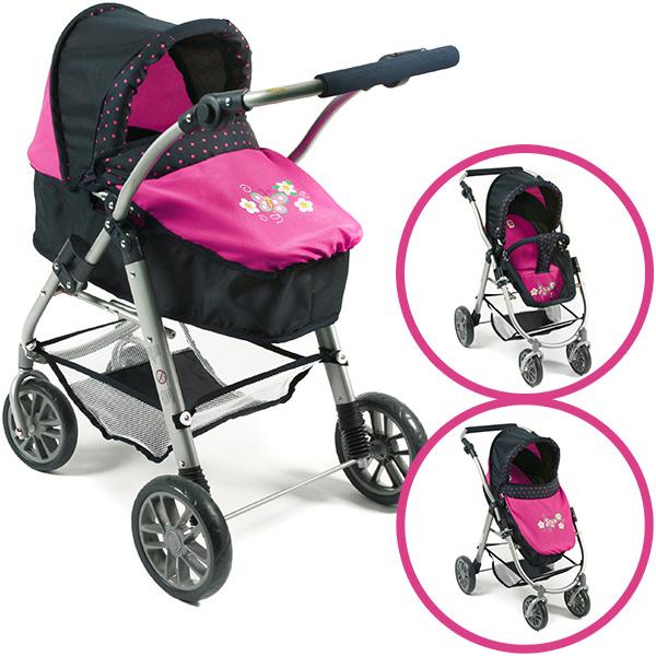 Puppenwagen Emilia 2in1 (Dots Navy-Pink) [Kinderspielzeug]