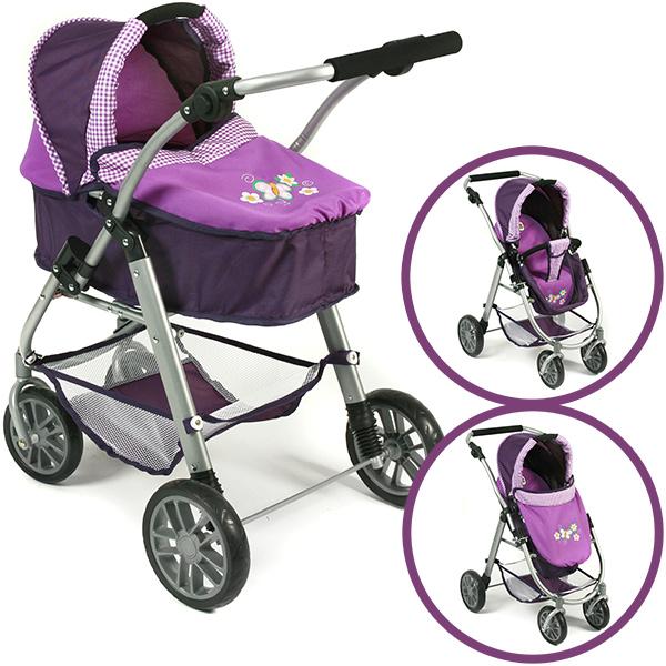 Puppenwagen Emilia 2in1 (Purple Checker) [Kinderspielzeug]