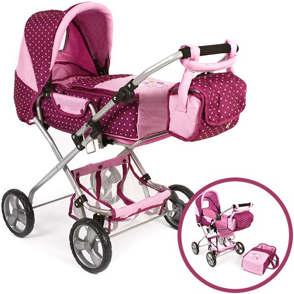 bayer-chic-2000-puppenwagen-bambina-dots-brombeere-kinderspielzeug-