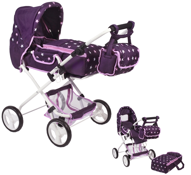 bayer-chic-2000-puppenwagen-bambina-stars-lila-kinderspielzeug-