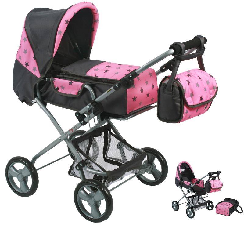 bayer-chic-2000-puppenwagen-bambina-sternchen-grau-kinderspielzeug-