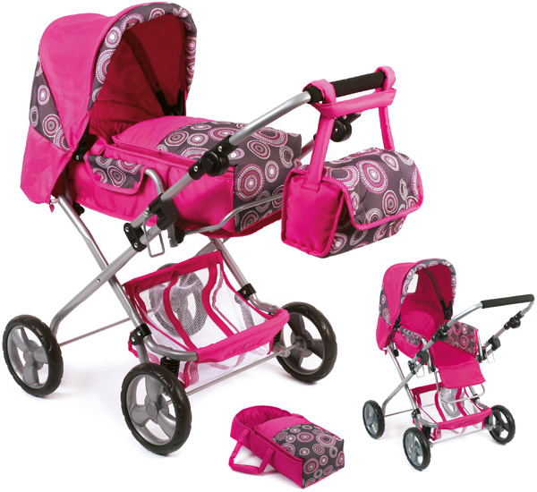 bayer chic 2000 puppenwagen bambina hot pink pearls kinderspielzeug. Black Bedroom Furniture Sets. Home Design Ideas