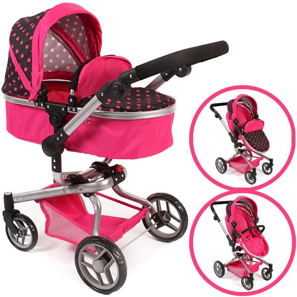 bayer-chic-2000-puppenwagen-yolo-dots-2in1-pink-schwarz-kinderspielzeug-