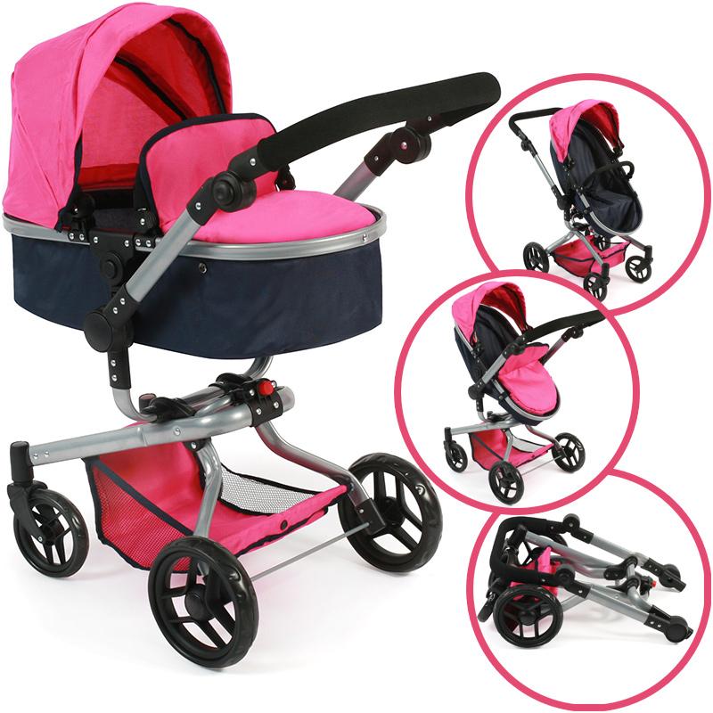 bayer-chic-2000-puppenwagen-yolo-dots-2in1-pink-navy-kinderspielzeug-