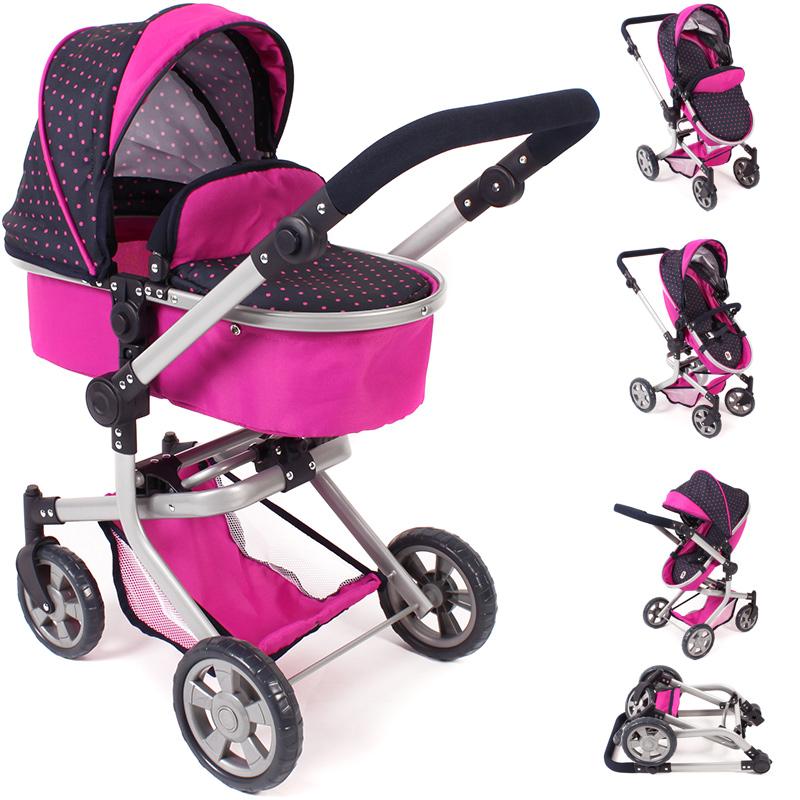bayer-chic-2000-puppenwagen-mika-2in1-dots-navy-pink-kinderspielzeug-
