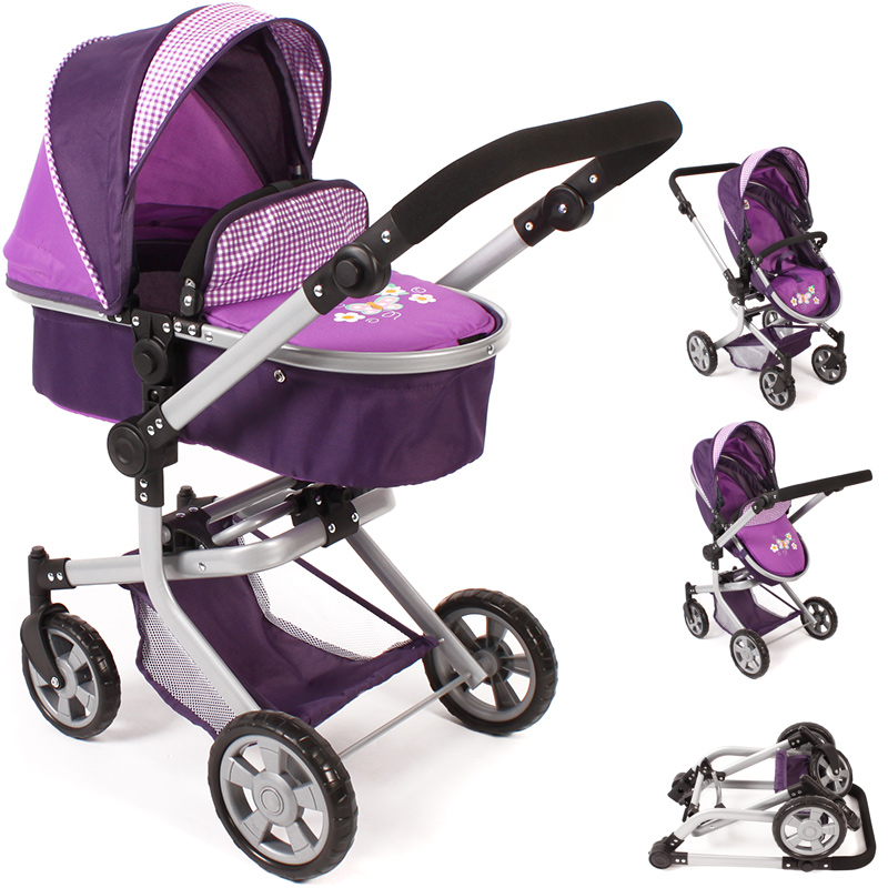 bayer chic 2000 puppenwagen mika 2in1 purple checker kinderwagen buggy f r puppe ebay. Black Bedroom Furniture Sets. Home Design Ideas