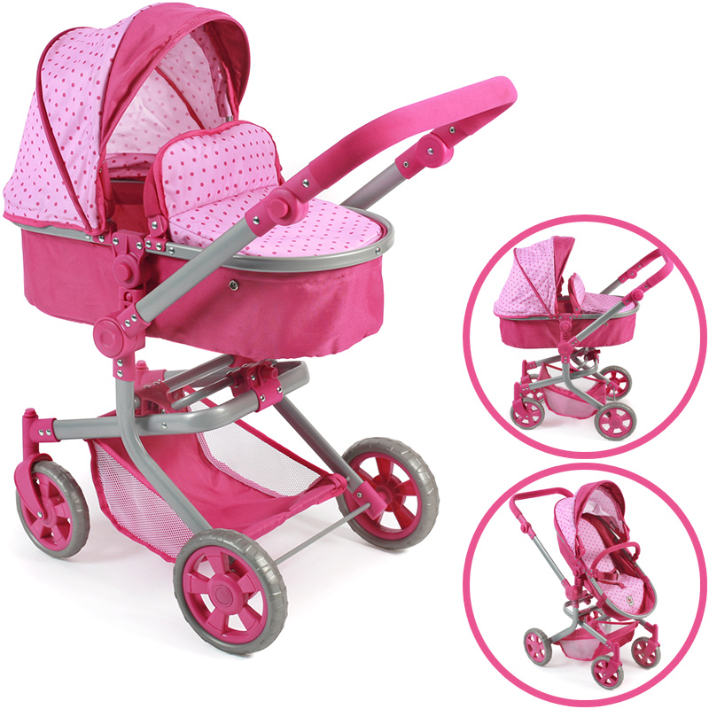 bayer-chic-2000-puppenwagen-mika-2in1-dots-pink-kinderspielzeug-