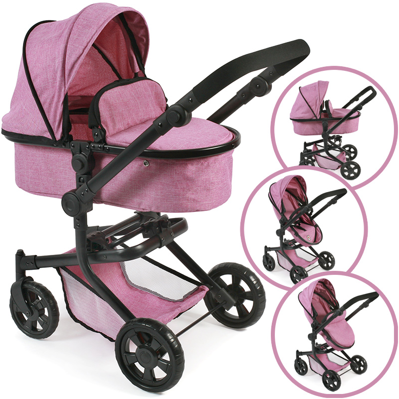 bayer-chic-2000-puppenwagen-mika-2in1-jeans-pink-kinderspielzeug-
