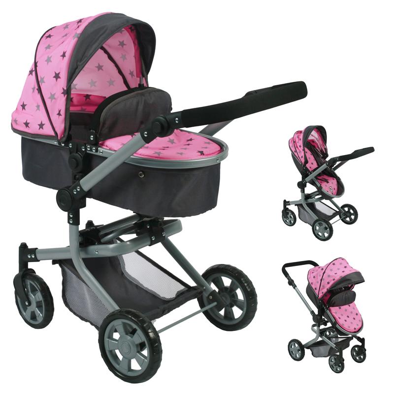 bayer-chic-2000-puppenwagen-mika-2in1-sternchen-grau-rosa-kinderspielzeug-