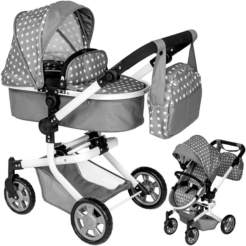 bayer-chic-2000-puppenwagen-mika-2in1-sternchen-mit-wickeltasche-grau-wei-kinderspielzeug-