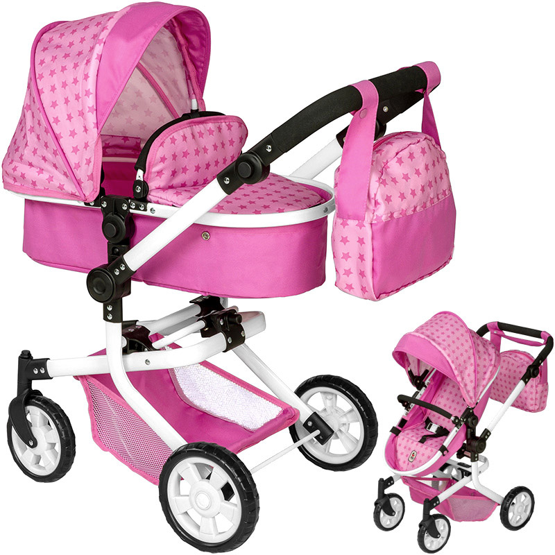 bayer chic 2000 puppenwagen mika 2in1 sternchen zubeh r wickeltasche rosa buggy ebay. Black Bedroom Furniture Sets. Home Design Ideas