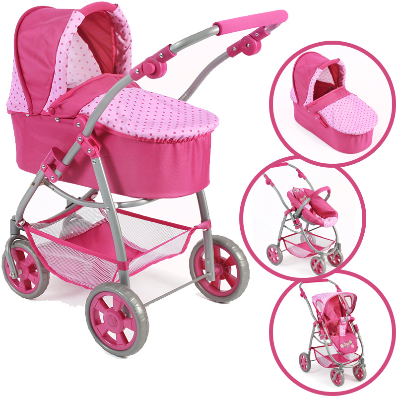bayer-chic-2000-puppenwagen-emotion-all-in-3in1-dots-pink-kinderspielzeug-