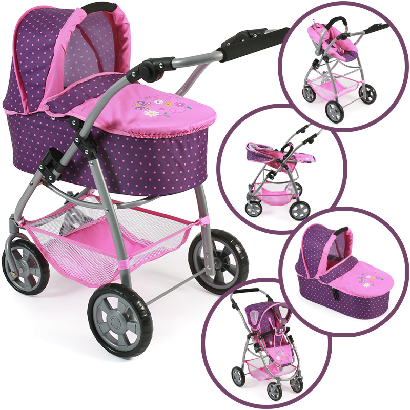 bayer-chic-2000-puppenwagen-emotion-all-in-3in1-dots-purple-pink-kinderspielzeug-