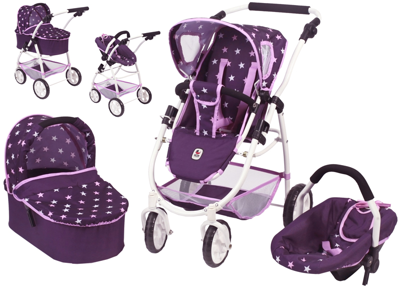 bayer-chic-2000-puppenwagen-emotion-all-in-3in1-stars-lila-kinderspielzeug-