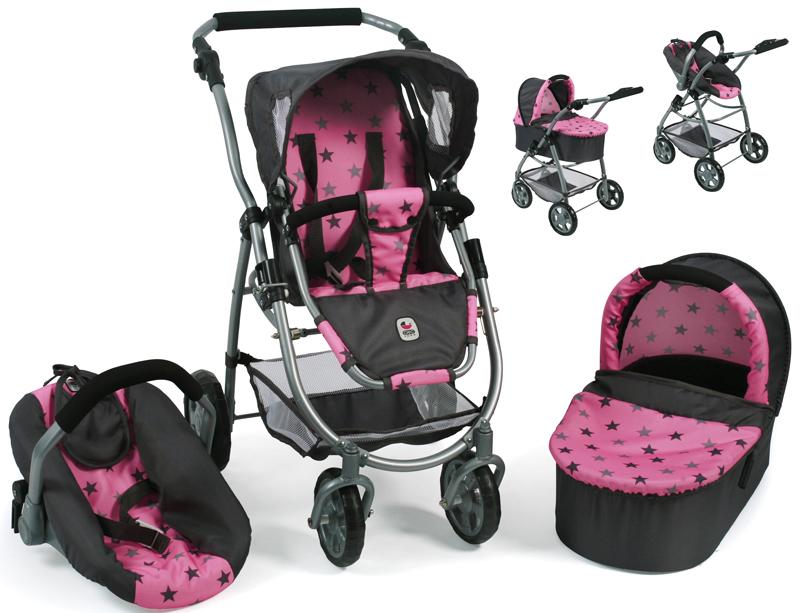 bayer-chic-2000-puppenwagen-emotion-all-in-3in1-sternchen-grau-rosa-kinderspielzeug-