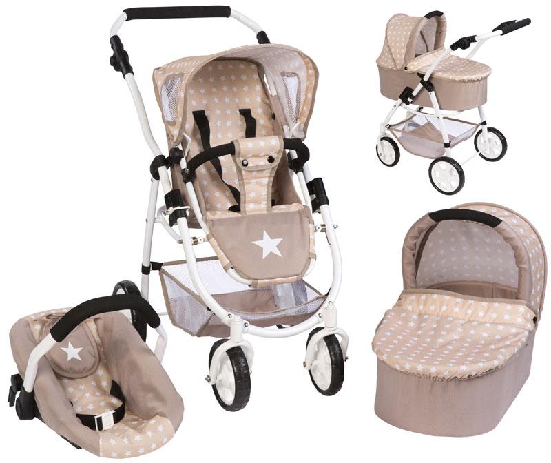 bayer-chic-2000-puppenwagen-emotion-all-in-3in1-sternchen-beige-braun-kinderspielzeug-