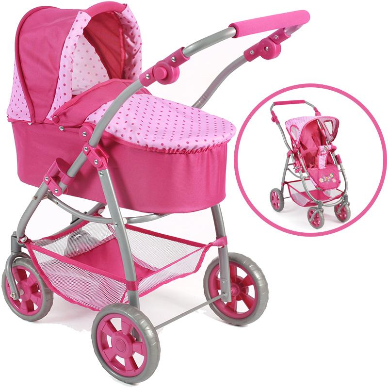 bayer-chic-2000-puppenwagen-emotion-2in1-dots-pink-kinderspielzeug-