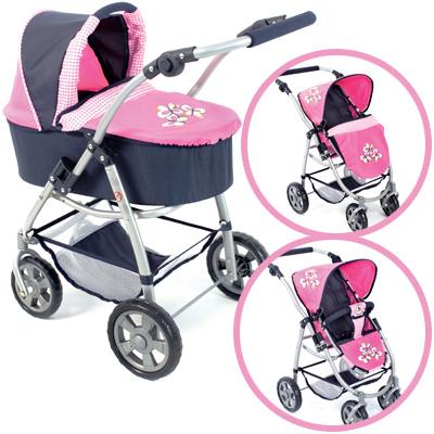 bayer-chic-2000-puppenwagen-emotion-2in1-pink-checker-kinderspielzeug-