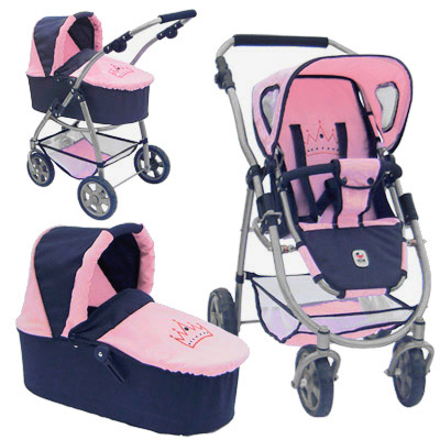 bayer chic 2000 puppenwagen emotion 2in1 princess navy rosa bei spielzeug24. Black Bedroom Furniture Sets. Home Design Ideas