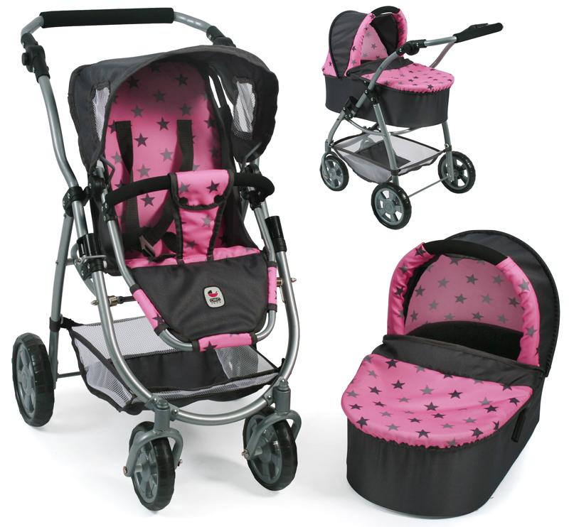 bayer-chic-2000-puppenwagen-emotion-2in1-sternchen-grau-rosa-kinderspielzeug-