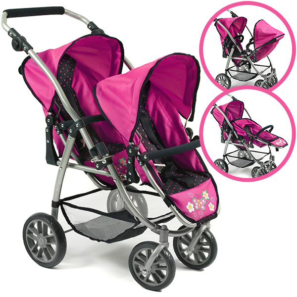 bayer chic 2000 zwillingspuppenwagen vario pink. Black Bedroom Furniture Sets. Home Design Ideas