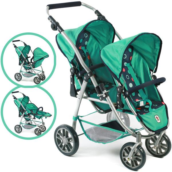 Zwillingspuppenwagen Tandem-Buggy Vario (Menta) [Kinderspielzeug]