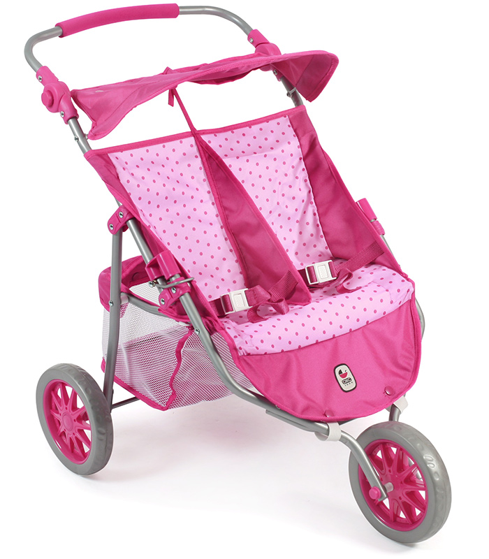 bayer-chic-2000-zwillingspuppenjogger-dots-pink-kinderspielzeug-