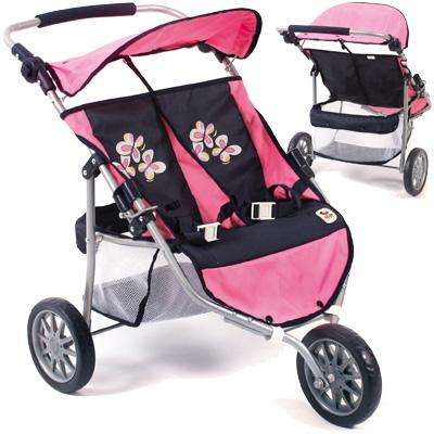 Zwillingspuppenjogger (Pink Checker) [Kinderspielzeug]