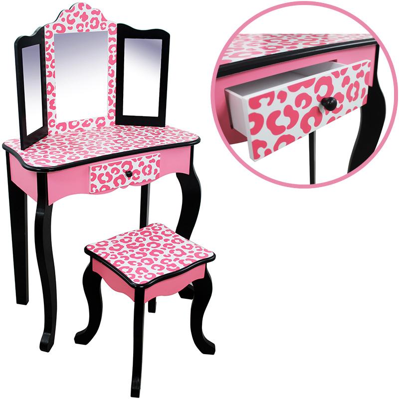 bayer-chic-2000-teamson-kids-schminktisch-mit-hocker-leopard-pink-schwarz-kinderspielzeug-