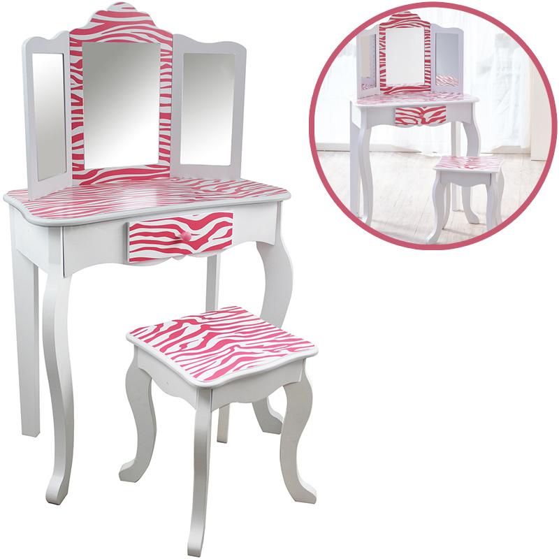 bayer-chic-2000-teamson-kids-schminktisch-mit-hocker-zebra-pink-wei-kinderspielzeug-