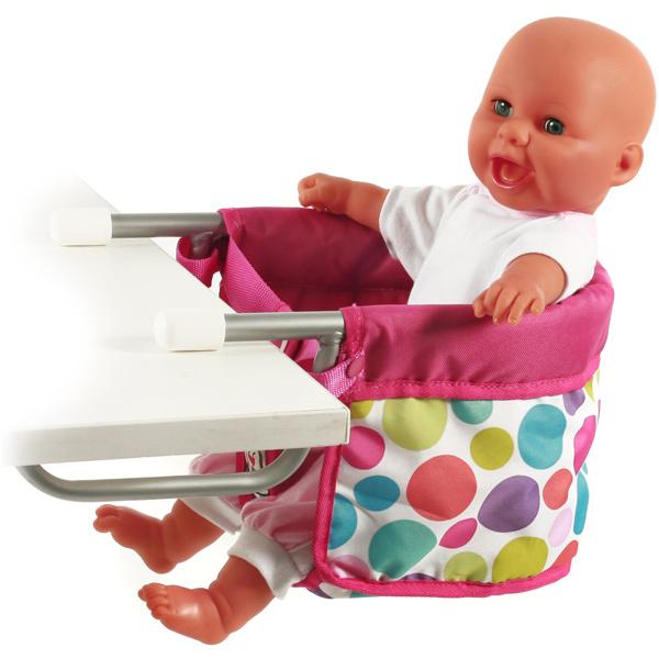 Dots Brombeere Bayer Chic 2000 Puppen-Tischsitz Puppensitz Hochstuhl Puppe NEU