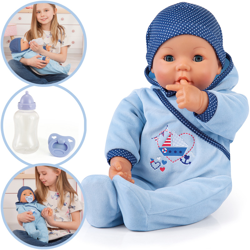bayer design baby puppe hello baby boy mit funktionen blau 4003336946833 ebay. Black Bedroom Furniture Sets. Home Design Ideas